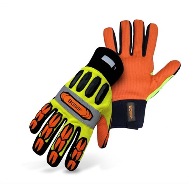 Boss 1JM610L Large Mechanics Style Miner Gloves in High Visibility Yellow Back - Pack of 6