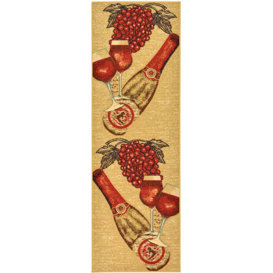 Ottomanson Siesta Kitchen Wine Non-Slip Runner Rug, Beige