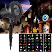 LED Projector Light, Christmas Halloween Projector 12 Mode Rotating Projector Spotlight, Waterproof LED Landscape Light Outdoor Garden Wall, Decorative Christmas Birthday Party (12 Slides)