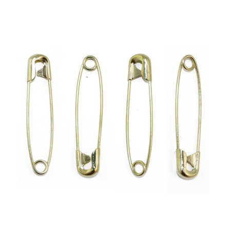 Gold Large Safety Pins Size 3 - 2 Inch 144 Pieces