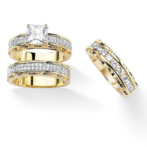 PalmBeach 3.10 TCW Princess-Cut Cubic Zirconia 14k Gold-Plated Wedding Ring Set Classic CZ Size 10