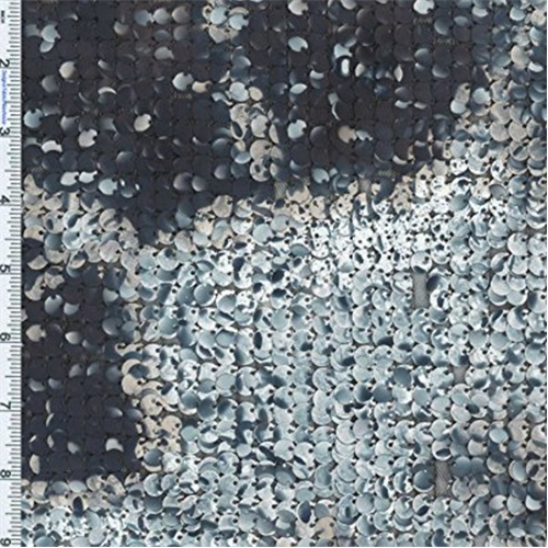 Greyscale Splatter Print Paillettes Sequin on Nylon Mesh, Fabric By the Yard