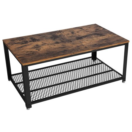 Calvin Industrial/Vintage Coffee Table, Cocktail Table w/ Storage Shelf for Living Room, Wood Accent Furniture w/ Metal Frame