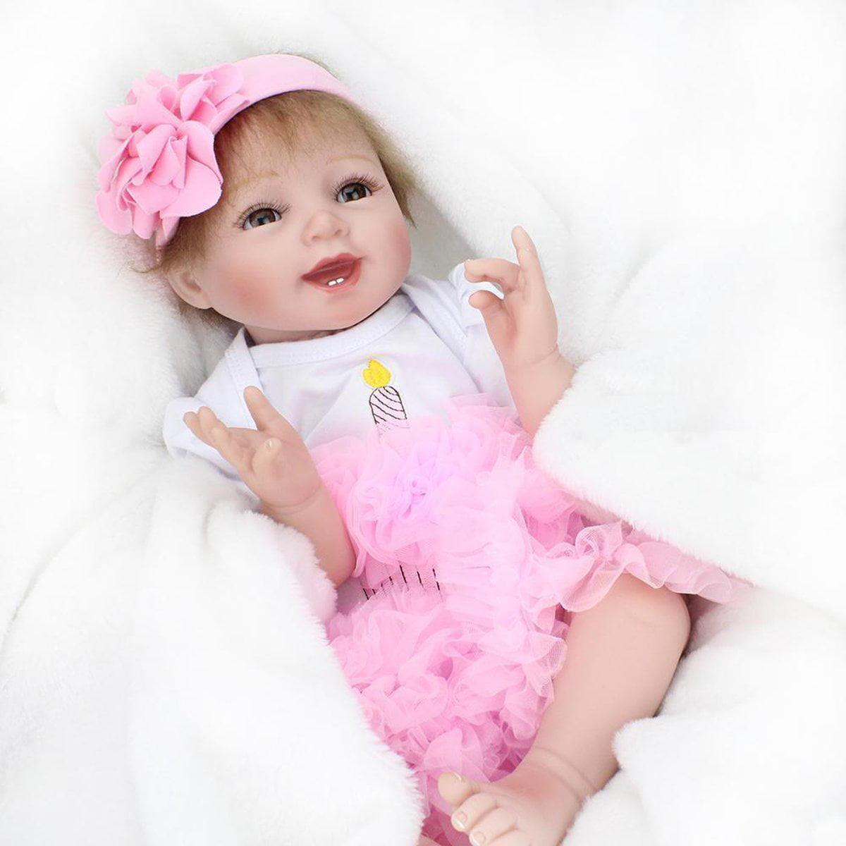 "22/"" Reborn Toddler Baby Dolls Handmade Vinyl Silicone Girl Realistic Lifelike A+"