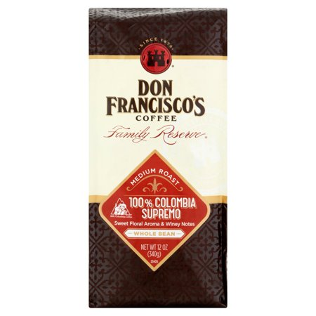 Don Franciscos Colombia Supremo Medium Roast Whole Bean Coffee, 12 oz