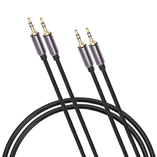 "2 PACK - 3.5mm Stereo Audio Cable - Male to Male (1/8"" TRS mini-stereo AUX) Step-Down Design Made to Fit into Mobile Devices or Smartphones with a Case  8 Ft"