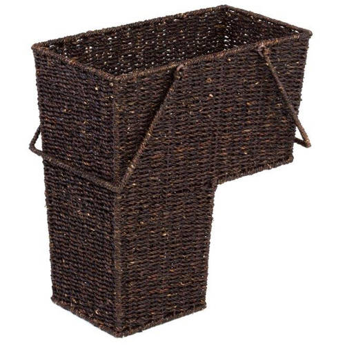 "14"" Wicker Storage Stair Basket With Handles by Trademark Innovations (Brown)"
