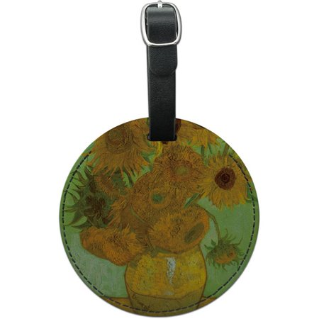 12 Round Leather - Still Life Vase with Twelve Sunflowers Vincent Van Gogh Round Leather Luggage ID Tag