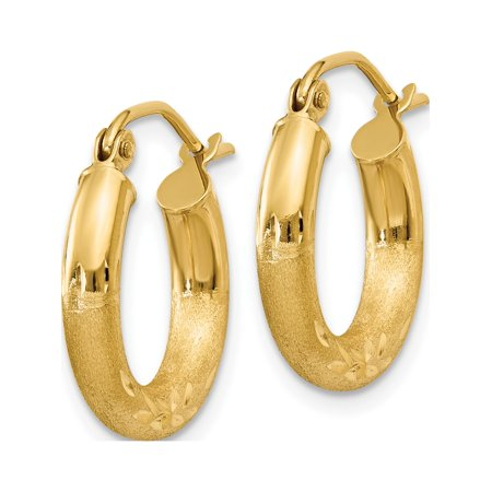 14k Yellow Gold Satin & Diamond-cut 3mm Round Hoop (3x16mm) Earrings - image 2 of 4
