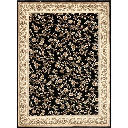 - Floral Transitional Black Indoor Area Rug or Runner