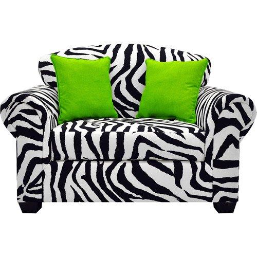 Tween Loveseat, Zebra Print With Lime Pillows