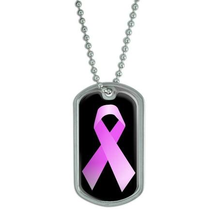Breast Cancer Ribbon on Black Dog Tag Breast Cancer Dog Tag
