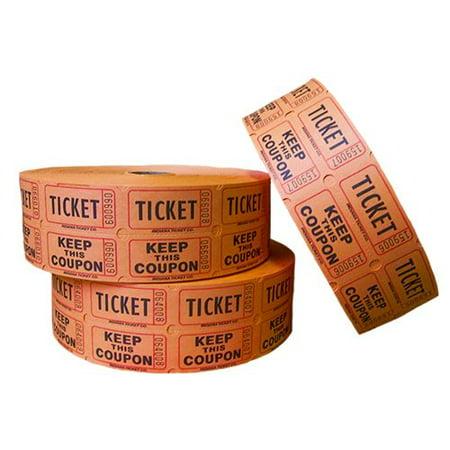 raffle tickets double roll 2 part 2000 count orange walmart com