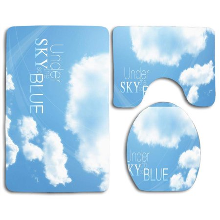 CHAPLLE Under Sky so Blue 3 Piece Bathroom Rugs Set Bath Rug Contour Mat and Toilet Lid