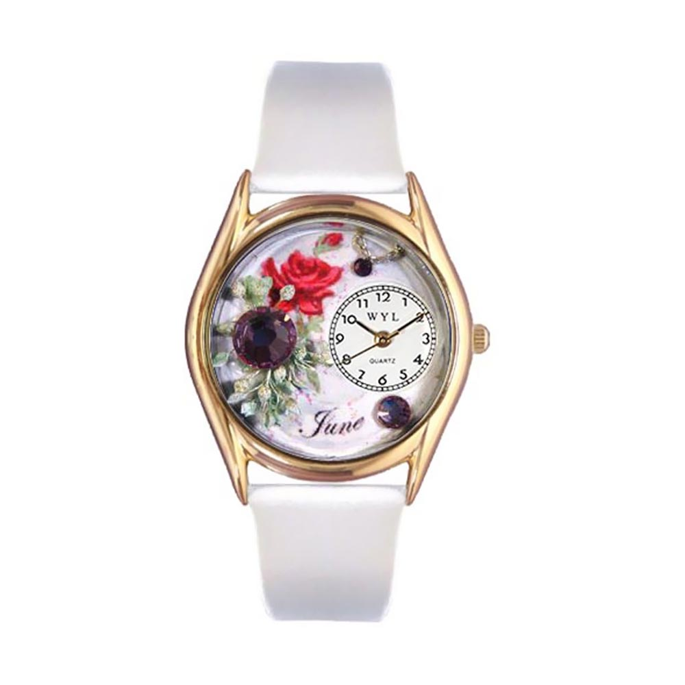 Whimsical Watches Women's Birthstone: June White Leather and Gold Tone Watch