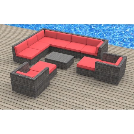 Urban Furnishing - ARUBA 11pc Modern Outdoor Wicker Patio Furniture Modular Sofa Sectional Set, Fully Assembled - Coral Red ()