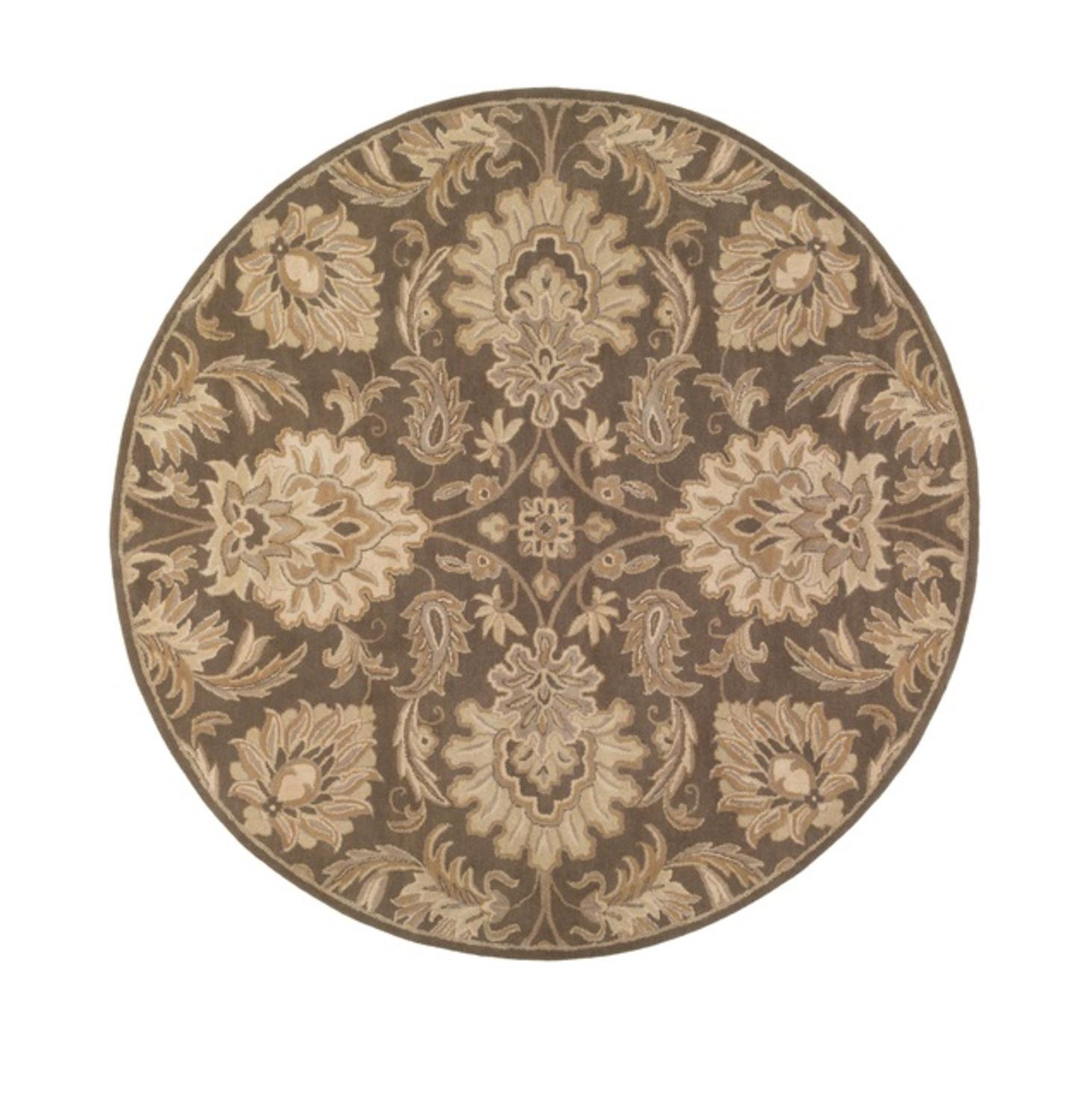 4' Cornelian Quartz Gray and Taupe Brown Hand Tufted Wool Round Area Throw Rug