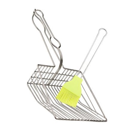 Generic, Cat Litter Scoop With Cleaning Brush In Random Color, Plated Metal, Large