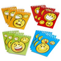 """Spiral Smiley Notepads 2.25"""" X 3.5"""" 20 Pages Each - Pack Of 12 – Assorted Colors Mini Spiral Bound Memo Pad, Pocket Size - For Kids, Boys And Girls, Great Party Favors, Fun, Gift, Prize - By Kidsco"""