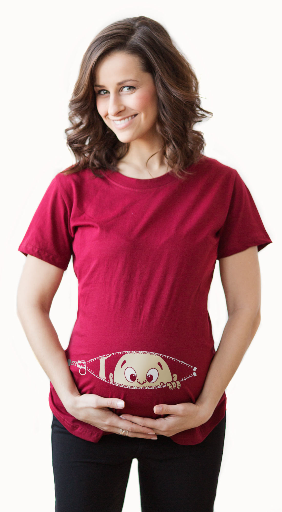e6aed249 Crazy Dog Funny T-Shirts - Maternity Baby Peeking T Shirt Funny Pregnancy  Tee For Expecting Mothers - Walmart.com