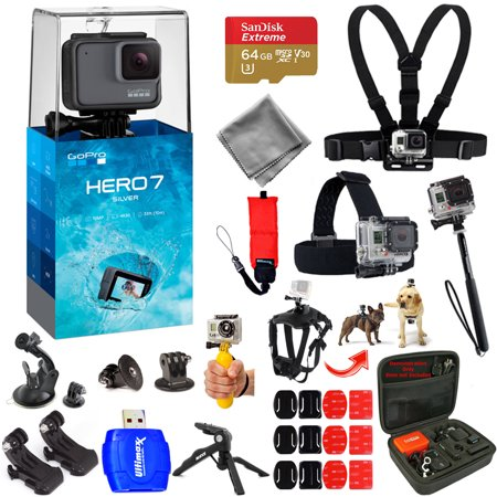 GoPro HERO7 HERO 7 Silver Action Camera Mega Pro ALL YOU NEED Accessory Bundle with 64GB Micro SD, Head and Chest Strap, Dog Harness, Medium Case + MUCH