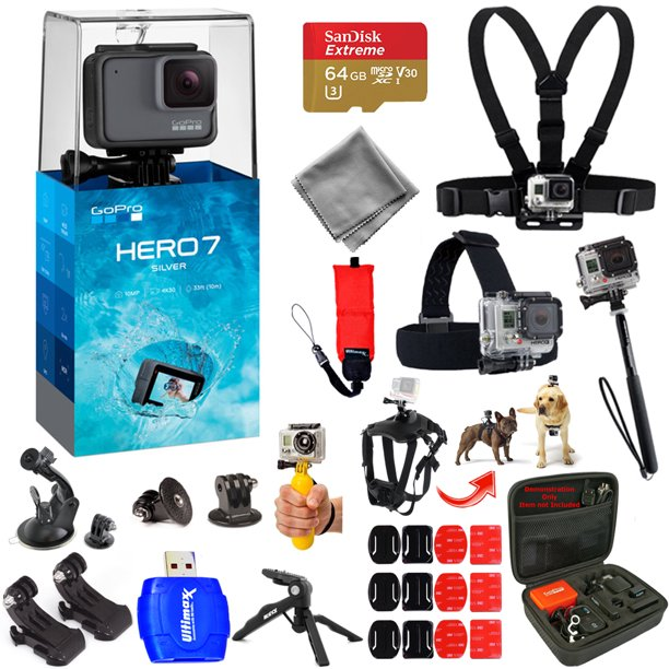 Gopro Hero7 Hero 7 Silver Action Camera Mega Pro All You Need Accessory Bundle With 64gb Micro Sd Head And Chest Strap Dog Harness Medium Case Much More Walmart Com Walmart Com