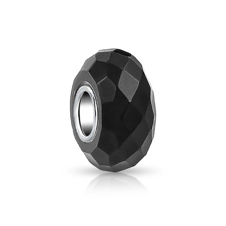 Bling Jewelry Black Faceted Crystal glass Simulated Onyx Charm Bead .925 Sterling silver