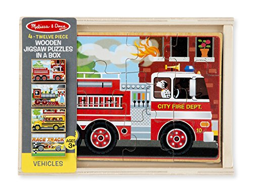 Melissa & Doug Vehicles 4-in-1 Wooden Jigsaw Puzzles in a Storage Box (48 pcs) by Melissa & Doug, LLC