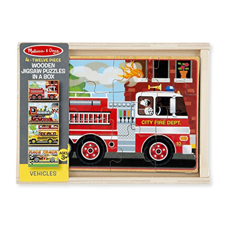 Melissa & Doug Vehicles 4-in-1 Wooden Jigsaw Puzzles in a Storage Box (48 pcs) - Wooden Star Puzzle