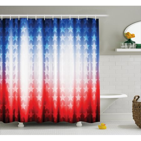 American Flag Decor Shower Curtain Abstract Background With Stars In Digital Neon Lights Colors Design Image Fabric Bathroom Set Hooks
