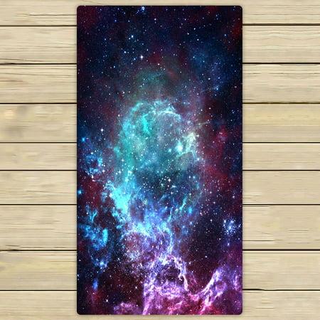 PHFZK Galaxy Space Towel, Nebula Universe Space Hand Towel Bath Bathroom Shower Towels Beach Towel 30x56 inches