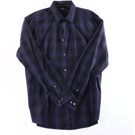 Alfani New Purple Black Mens Xl Long Sleeve Plaid Button