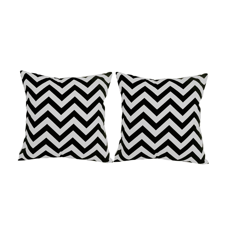 Set Of 2 Black Chevron Stripe Throw Pillow Covers 14x14