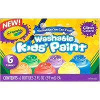 Crayola 6-color Glitter Washable Kids Paint - 2 Oz - 6/set - Red, Yellow, Blue, Green, Purple, Orange (54-2400)