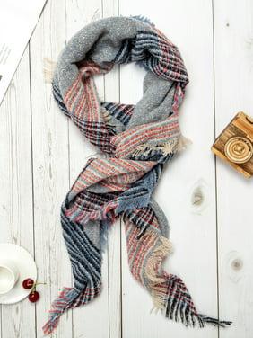 Soft Warm Tartan Plaid Scarf Shawl Cape Blanket Scarves Plaid Blanket Scarf Women Tassel Shawl Scarves