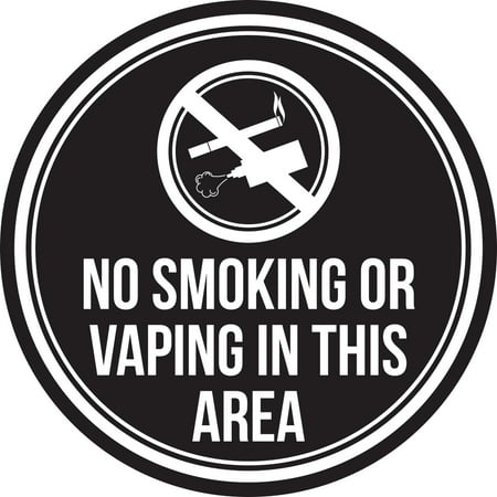 no smoking or vaping in this area black and white business commercial safety warning round sign
