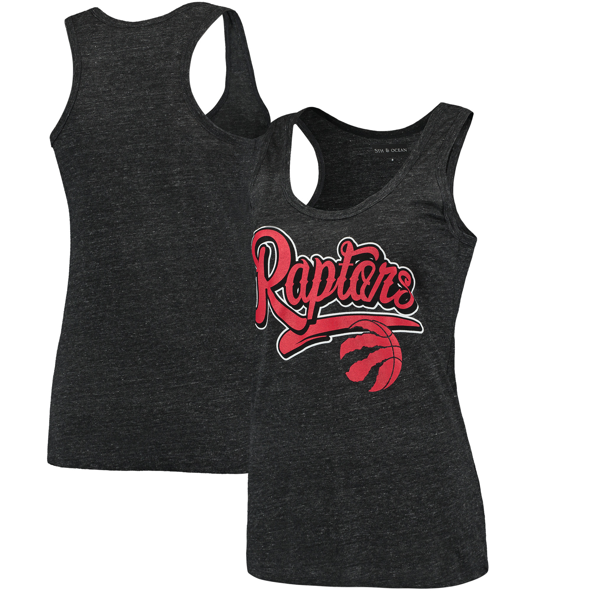 Toronto Raptors New Era Women's Tri-Blend Tank Top - Heathered Black