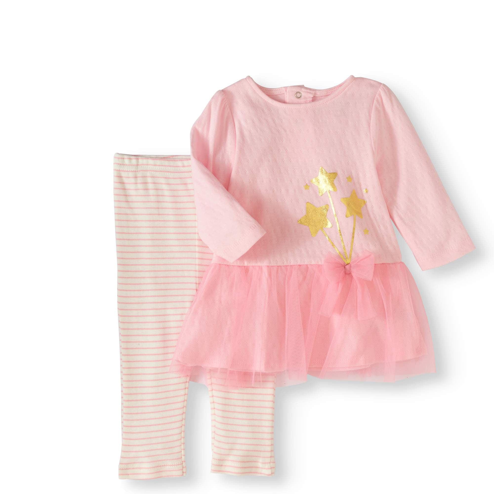 Rene Rofe Baby Little Newborn Girls Dress with Legging Set