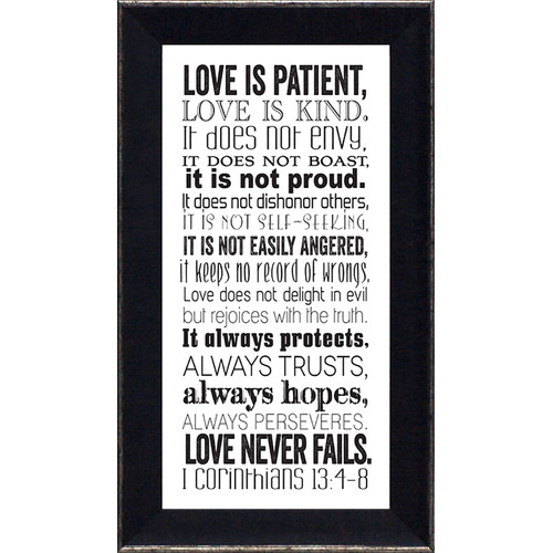 Artistic Reflections Corinthians 13 by Tonya Framed Textual Art