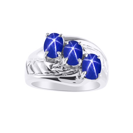 3 Stone  Oval Shape Blue Star Sapphire Ring Set In 14K White Gold - Color Stone Birthstone Ring LR7043LSW-D