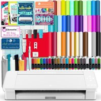 Silhouette White Cameo 4 w/ 38 Oracal Sheets, Siser HTV, Guides, 24 Pens