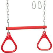 Swing Set Stuff Inc. Trapeze Bar with Rings and Uncoated Chain (Red)