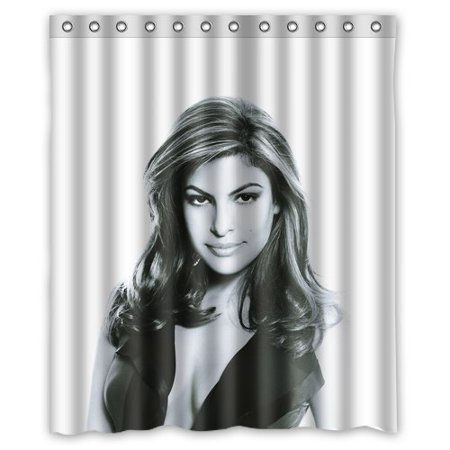 Deyou Eva Mendes White Blue Shower Curtain Polyester Fabric Bathroom Shower Curtain Size 60X72 Inches