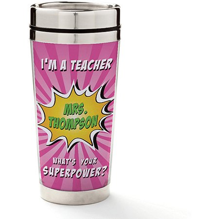 Personalized Teacher Pink Coffee Travel Mug - Super