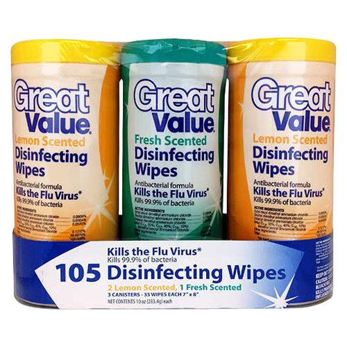 Great Value Disinfecting Wipes, Fresh Scent/Lemon, 3 Count