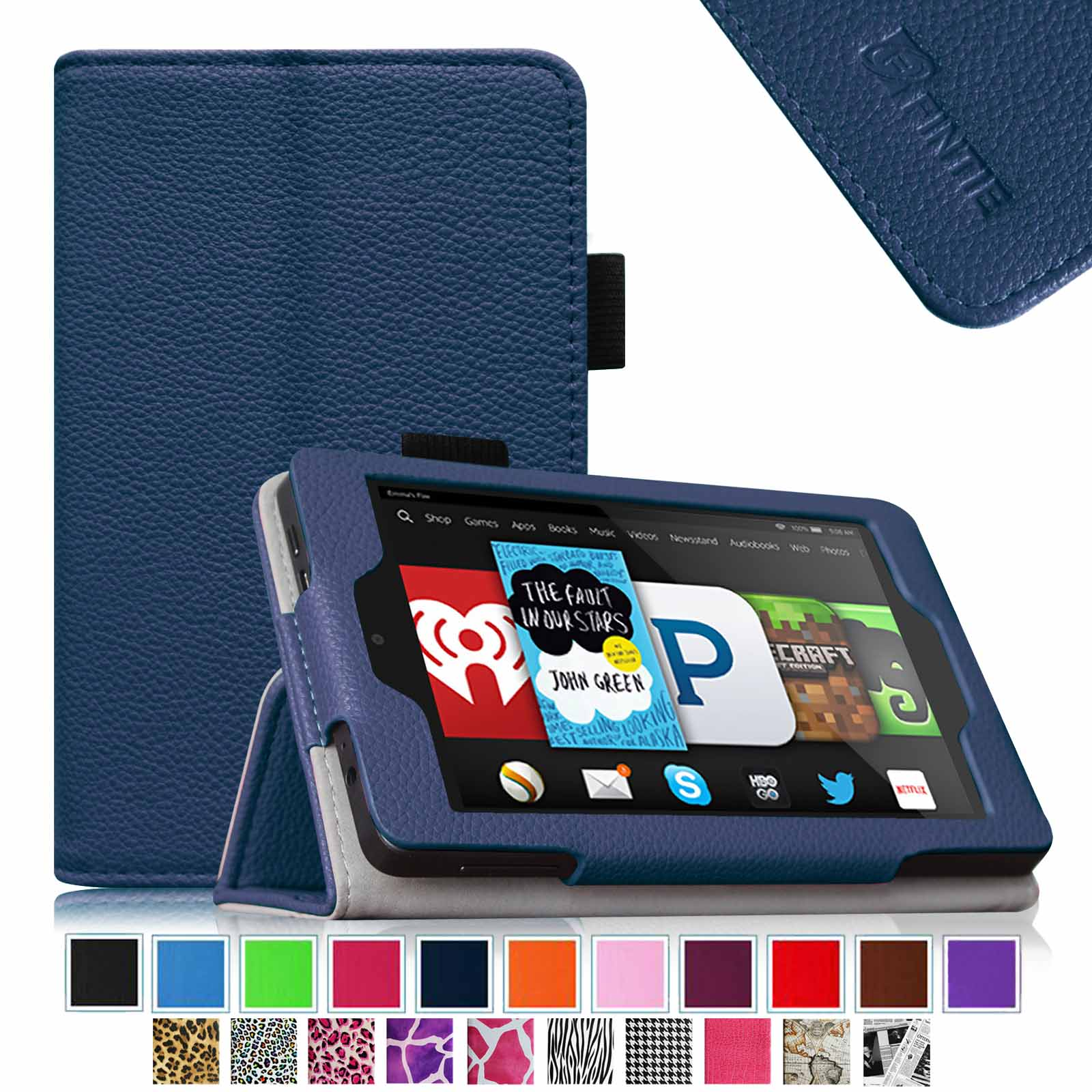 Fintie Kindle Fire HD 6 Tablet (2014 Oct Release) Case - Slim Fit Leather Stand Cover with Sleep/Wake Feature, Navy