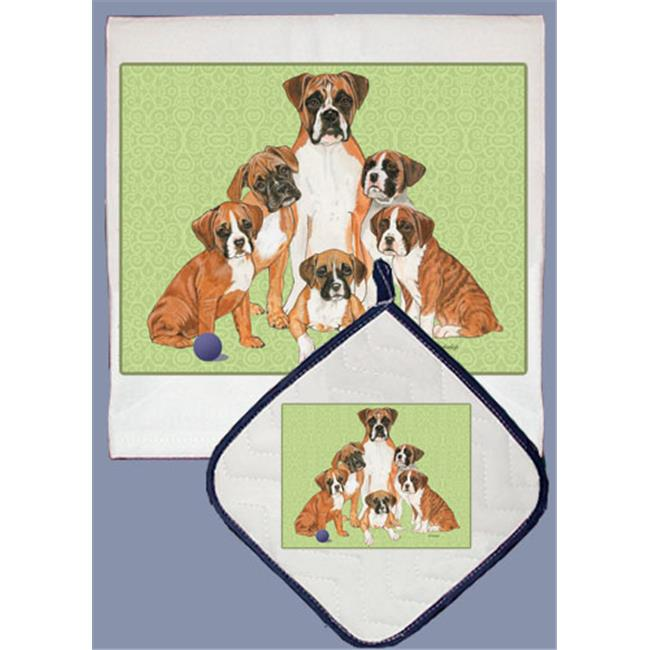 Pipsqueak Productions DP558 Dish Towel and Pot Holder Set Boxer Family by Pipsqueak Productions