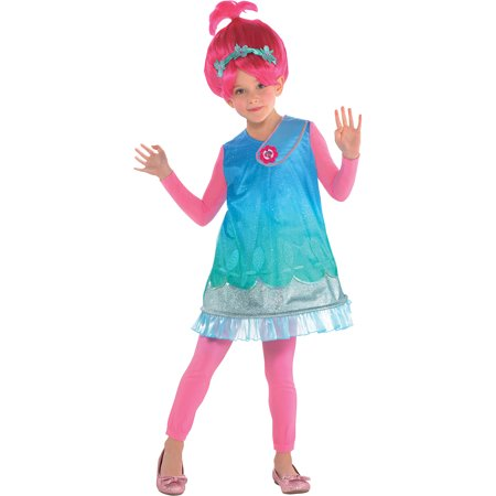 Trolls Poppy Costume for Girls, Size Small, Includes a Dress, a Wig, and