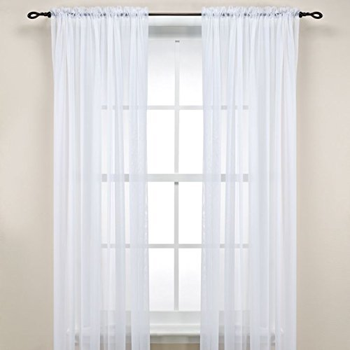 "LuxuryDiscounts 2 Piece Solid White Elegant Sheer Curtains Fully Stitched Panels Window Treatment Drape 60"" X 84"", Luxury Discounts Exclusive By Luxury Discounts"