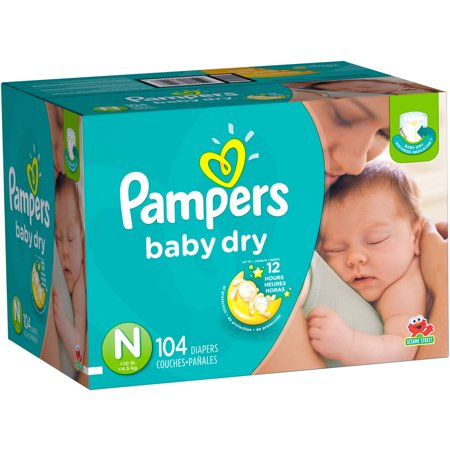 pampers baby dry diapers size newborn 104 diapers super. Black Bedroom Furniture Sets. Home Design Ideas